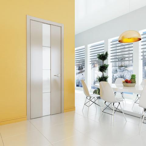 Межкомнатные двери Perfecto Porte коллекция Avorio-5 эмалькремовая матовая фото интерьер
