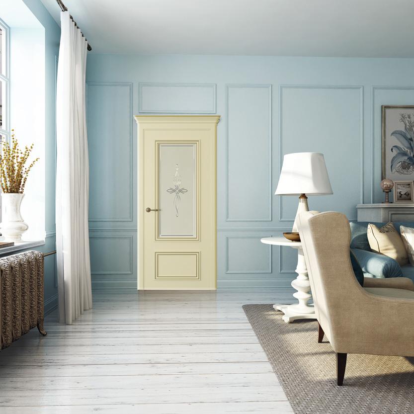 Двери Океан коллекция Дрезден цвет эмаль Шампань фото в интерьере