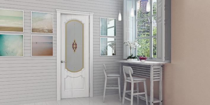 Деревянные двери Океан Milano шпон Ясень белый жемчуг фото интерьер