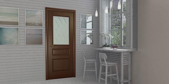 Двери Океан MILANO шпон дуб шоколад фото интерьер